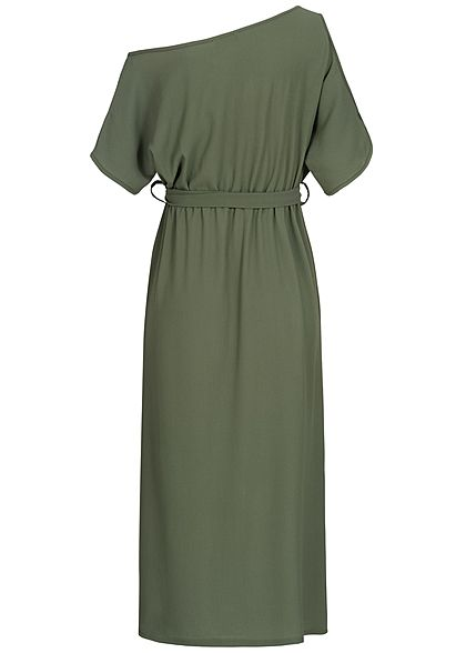 Styleboom Fashion Damen T-Shirt Dress Belt military grün