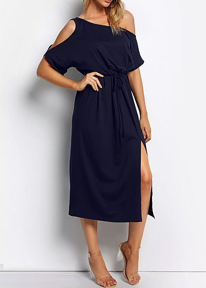 Styleboom Fashion Damen T-Shirt Dress Belt navy blau