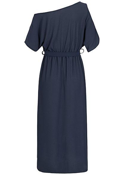 Styleboom Fashion Damen T-Shirt Dress Belt navy blau