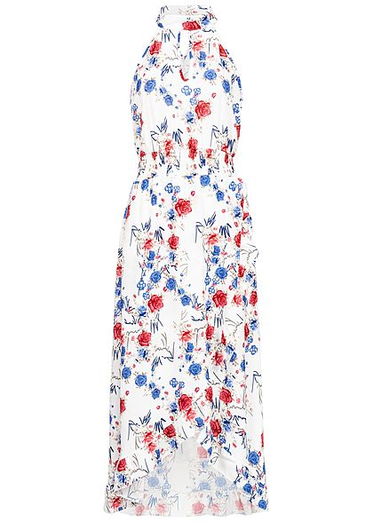 Styleboom Fashion Damen Choker Maxi Dress Flower Print weiss blau rot
