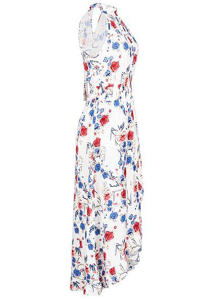 Styleboom Fashion Damen Choker Maxi Dress Flower Print weiss blau rot