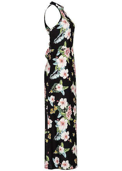 Styleboom Fashion Damen Maxi Choker Dess Flower Print schwarz weiss