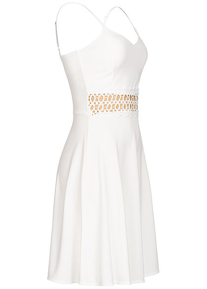 Styleboom Fashion Damen Mini Strap Lace Dress weiss