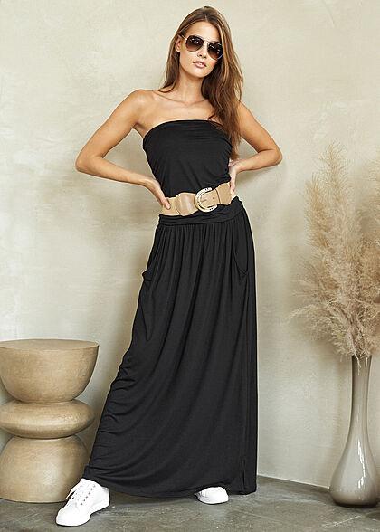 Styleboom Fashion Damen Longform Bandeau Kleid 2-Pockets Gürtel schwarz