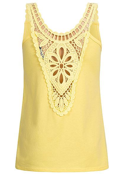 Styleboom Fashion Damen Crochet Lace Up Top gelb
