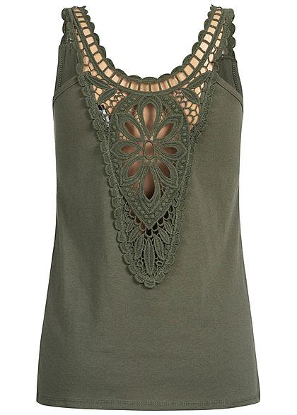 Styleboom Fashion Damen Crochet Lace Up Top military grün