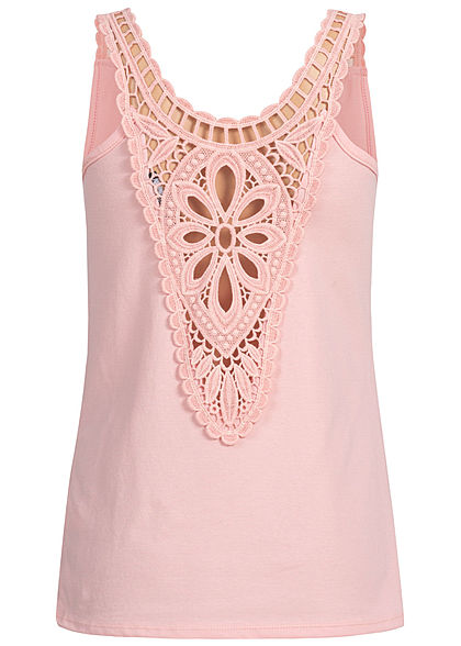 Styleboom Fashion Damen Crochet Lace Up Top rosa
