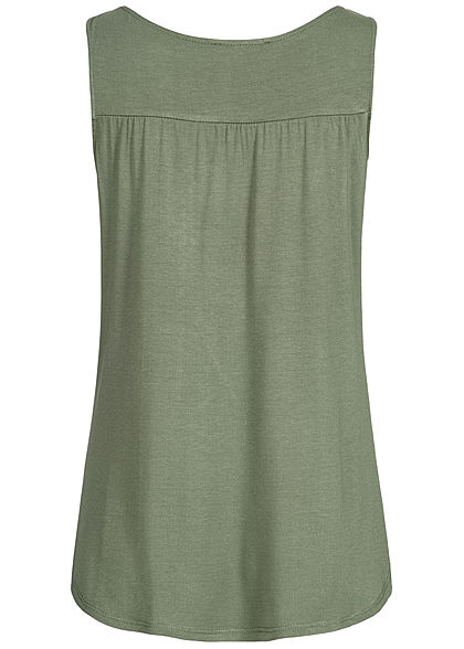 Styleboom Fashion Damen Buttons Front Top khaki