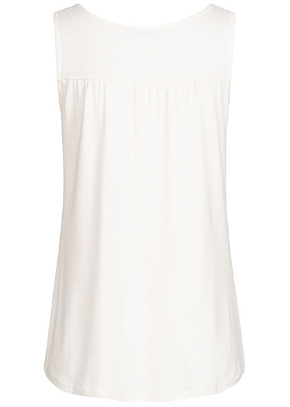 Styleboom Fashion Damen Buttons Front Top off weiss