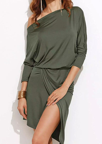 Styleboom Fashion Damen 3/4 Sleeve Wrap Skirt Dress military grün