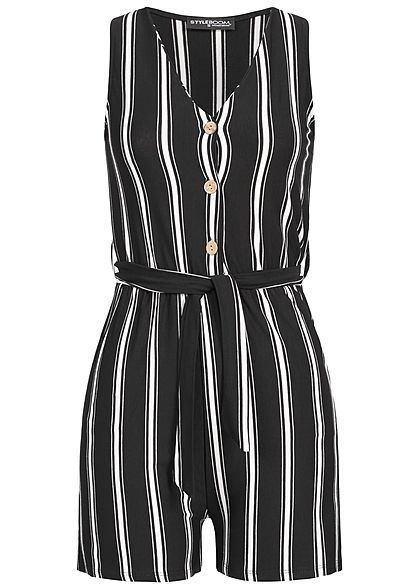 Styleboom Fashion Damen Striped Jumpsuit Belt Buttons Front schwarz weiss