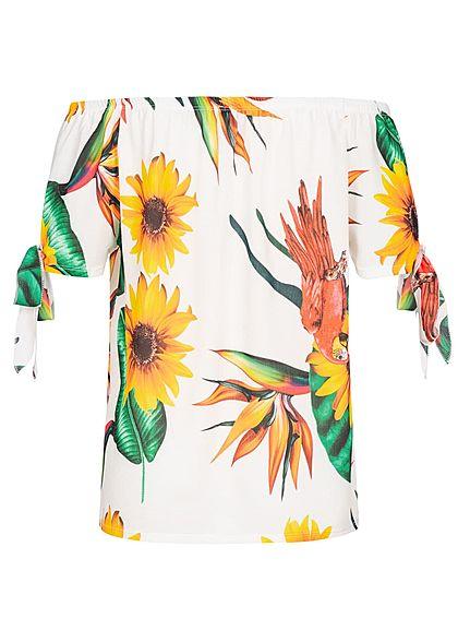 Styleboom Fashion Damen Off-Shoulder Bow Sleeves Top TropicalPrint weiss multicolor