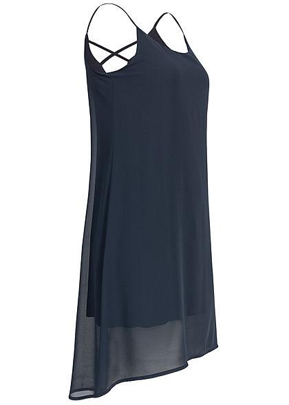 Styleboom Fashion Damen 2-Layer Chiffon Dress navy blau