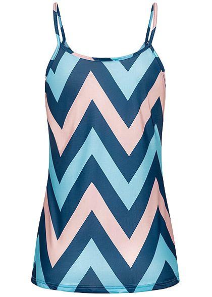 Styleboom Fashion Damen Strap Top Zig Zag Print multicolor