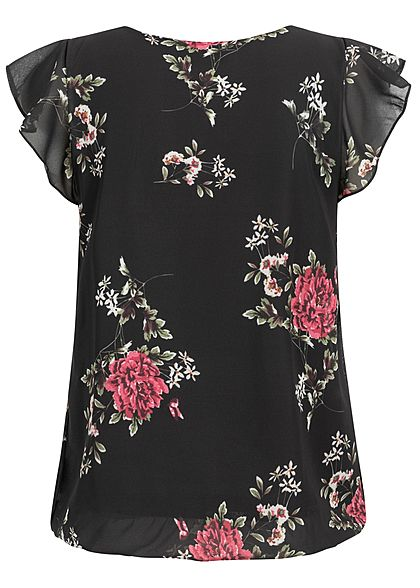 Styleboom Fashion Damen Volant Chiffon Top Flower Print schwarz pink
