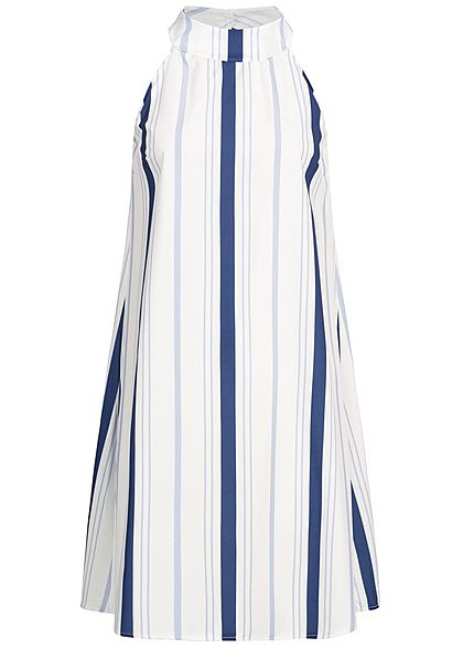 Styleboom Fashion Damen Striped A-Line Choker Dress weiss navy blau