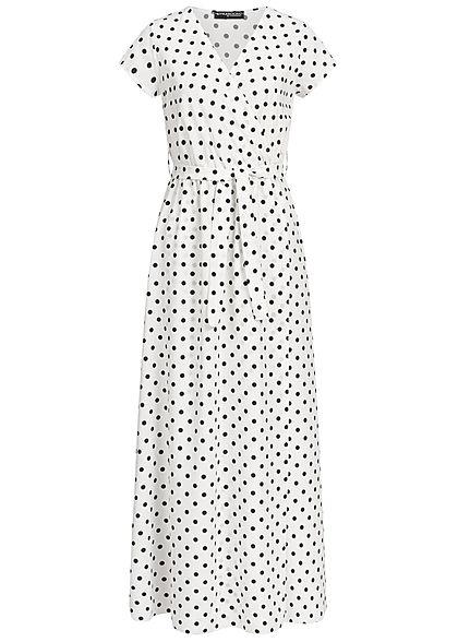 8d36075f0db Styleboom Fashion Damen Wrap Maxi Dress Dots Print Belt weiss schwarz