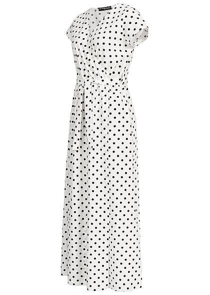 Styleboom Fashion Damen Wrap Maxi Dress Dots Print Belt weiss schwarz