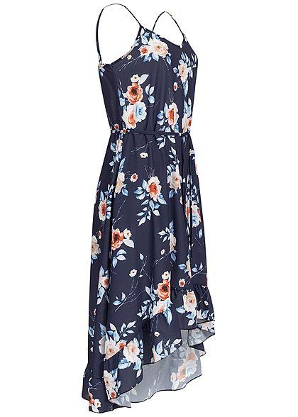 Styleboom Fashion Damen Volant Dress Flower Print Belt navy blau