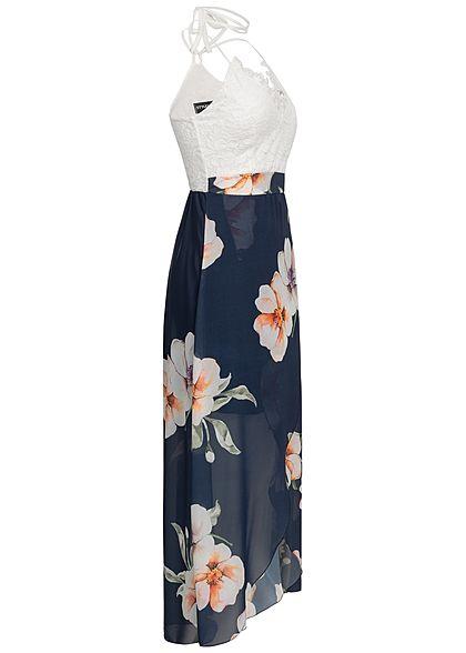 Styleboom Fashion Damen Neckholder Crochet Maxi Dress Flower Print navy blau weiss