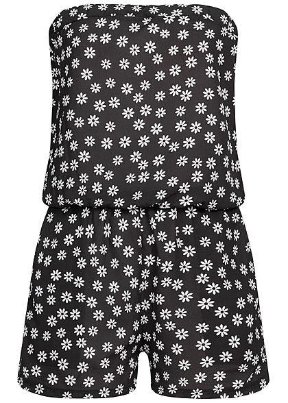 Styleboom Fashion Damen Bandeau Jumpsuit Flower Daisy Print schwarz weiss