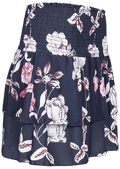 Styleboom Fashion Damen Pleated Chiffon Skirt Flower Print navy blau rosa
