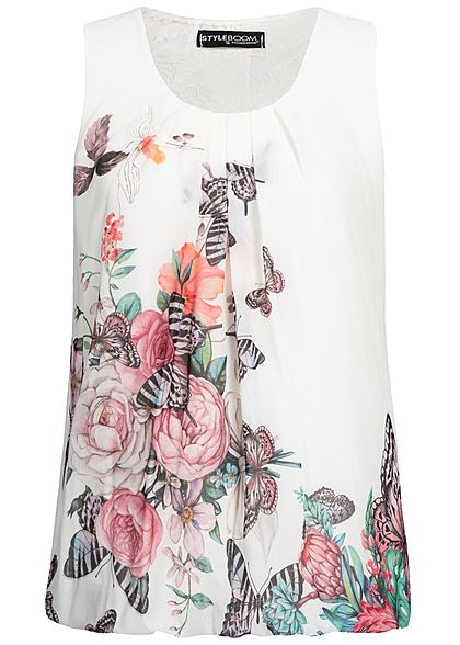 Styleboom Fashion Damen Chiffon Lace Top Butterfly Print weiss multicolor