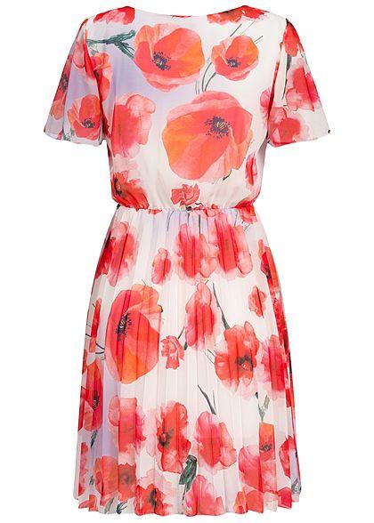 Styleboom Fashion Damen Pleated Chiffon Dress Corn Poppy Print weiss rot
