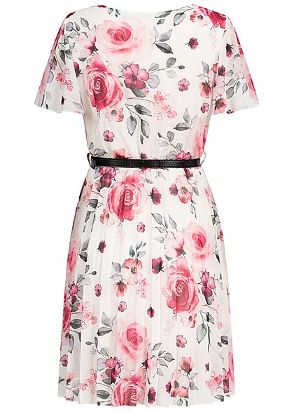Styleboom Fashion Damen Pleated Chiffon Dress Flower Print Belt weiss rosa