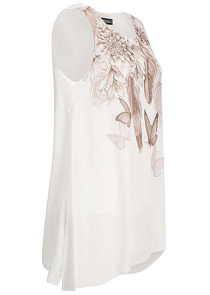 Styleboom Fashion Damen Chiffon Top Flower & Butterfly Print weiss braun