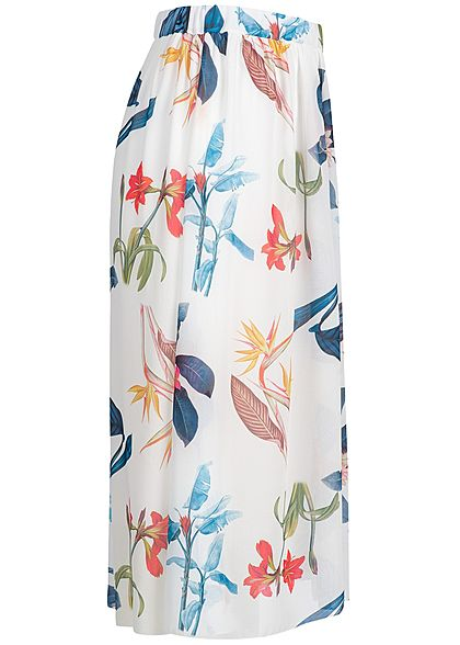 Styleboom Fashion Damen Chiffon Skirt Floral Print 2-Layer weiss multicolor