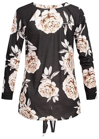 Styleboom Fashion Damen V-Neck Longshirt Flower Print Tie Knot schwarz