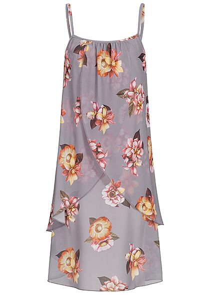 Styleboom Fashion Damen Strapped Chiffon Dress Flower Print stone grey grau