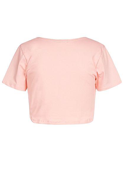Styleboom Fashion Damen Cropped Shirt Twist Front rosa