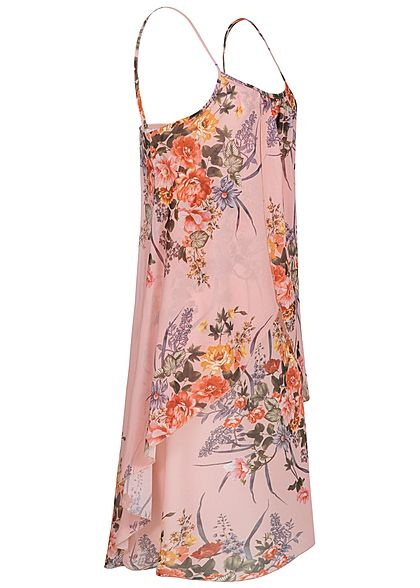 Styleboom Fashion Damen Strapped Chiffon Dress Flower Print rosa grün