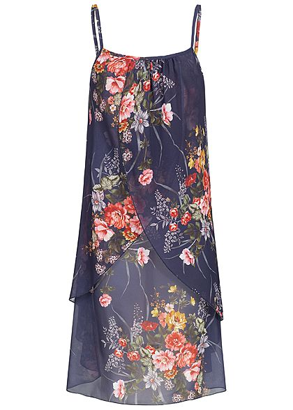 Styleboom Fashion Damen Strapped Chiffon Dress Flower Print navy blau grün