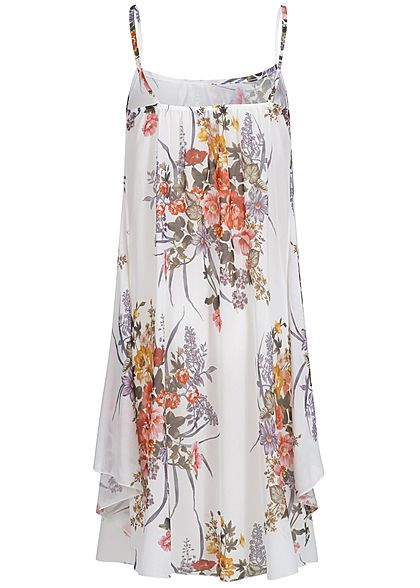 Styleboom Fashion Damen Strapped Chiffon Dress Flower Print off weiss grün