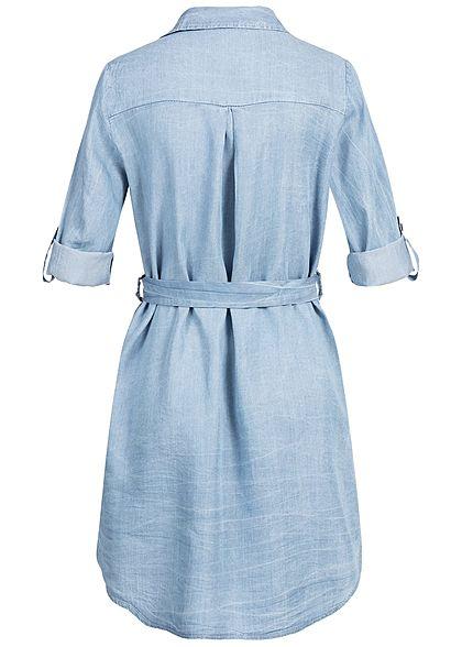 Styleboom Fashion Damen Turn-Up Denim Dress Belt hell blau