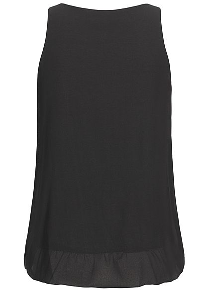 Styleboom Fashion Damen Chiffon Top schwarz