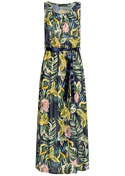 Styleboom Fashion Damen Maxi Dress Belt Tropical Print navy blau multicolor