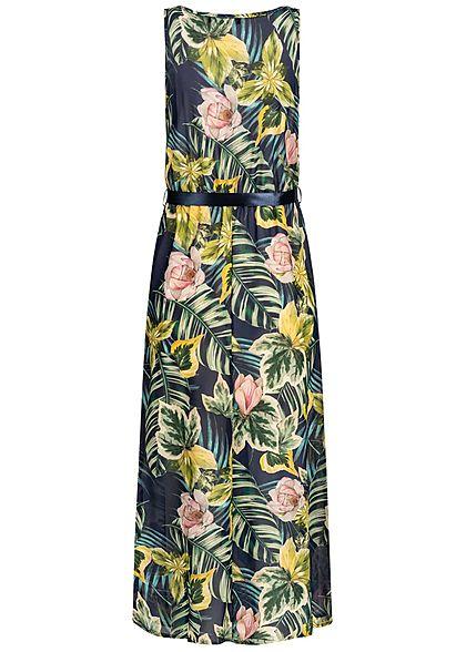 Styleboom Fashion Damen Maxi Dress Belt Tropical Print navy blau multicolor