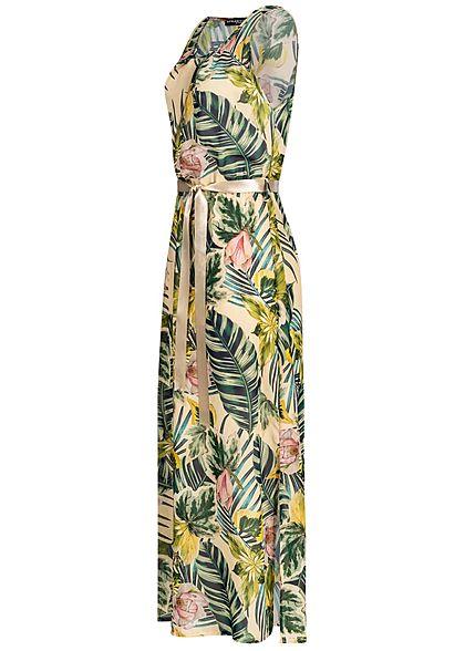 Styleboom Fashion Damen Maxi Dress Belt Tropical Print beige grün multicolor
