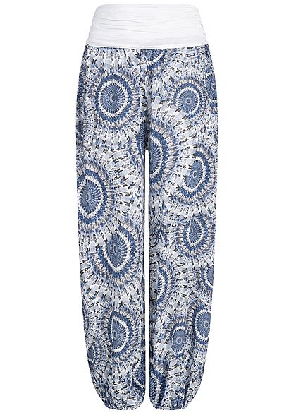 Styleboom Fashion Damen Summer Pants Indian Print weiss blau