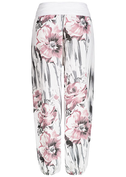 Styleboom Fashion Damen Summer Pants Flower Print weiss rosa