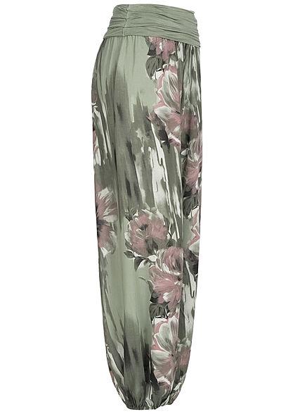 Styleboom Fashion Damen Summer Pants Flower Print military grün