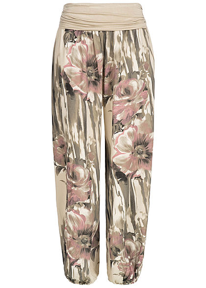 Styleboom Fashion Damen Summer Pants Flower Print fango beige