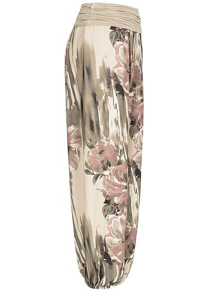 Styleboom Fashion Damen Summer Pants Flower Print fango beige