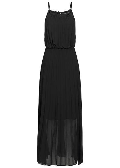 Styleboom Fashion Damen Maxi Strap Plisse Dress 2-Layer schwarz