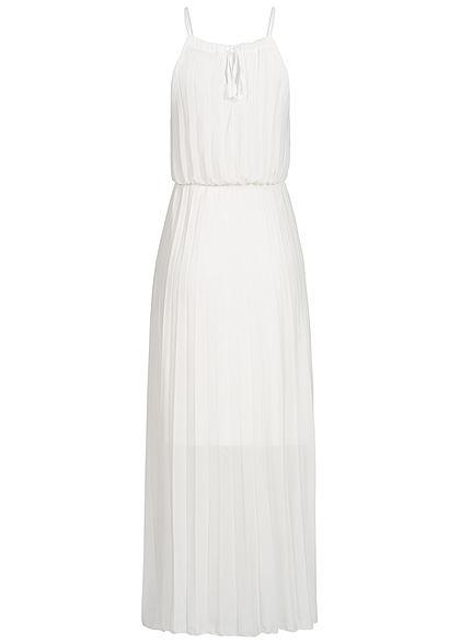 Styleboom Fashion Damen Maxi Strap Plisse Dress 2-Layer weiss