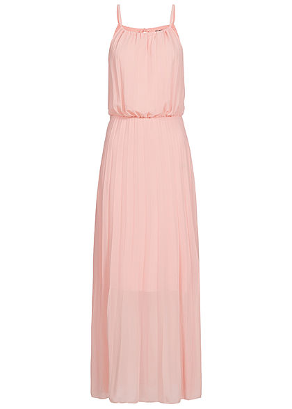 Styleboom Fashion Damen Maxi Strap Plisse Dress 2-Layer rosa